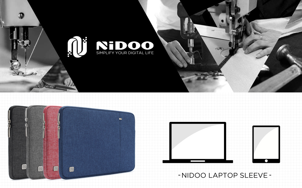 NIDOO 14 Inch Laptop Sleeve Water-Resistant Computer Case Portable Carrying Bag for 14