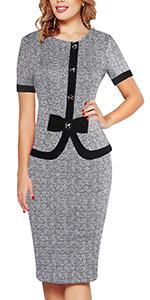 grey knee length sheath pencil office work dress with bow 2aa