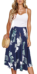 Fantaist Casual Dress,Spaghetti Strap Patchwork Floral Midi A Line Outdoor Dresses for A Wedding