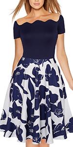 Fantaist A Line Dress,Women Off Shoulder Patchwork Floral Summer Fit and Flare Cocktail Dress