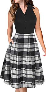 Fantaist Office Dress,Sleeveless Shirt Collar Summer Casual Aline Work Dresses with Pockets