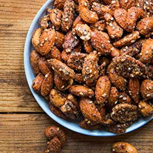 BobbySue's Nuts Everything Goes Nuts Style - Gourmet Nut Mix of Almonds,  Cashews, Pecans (8 ounce)