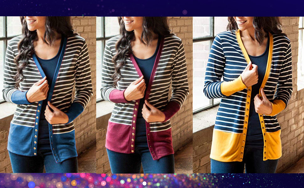 86b4005419 RichCoco Women s V Neck Striped Snap Button Knitwears Open Front Long  Sleeve Casual Cardigans Coat