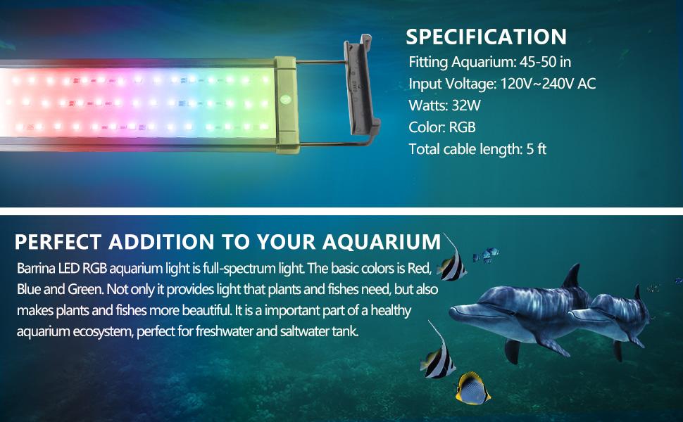 led aquarium light 48 inches 4ft RGB fit for tank freshwater aqurium light saltwater light fixture