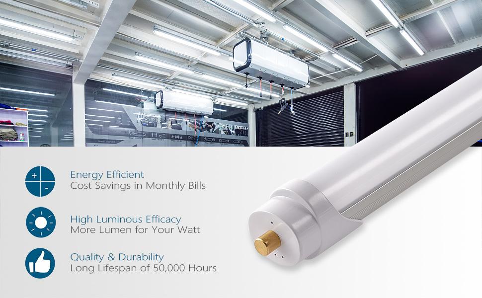 8ft led shop light 8 foot lights for garage tube light bulbs Fluorescent replacement T8 T10 T12