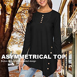 White Blouses & Shirts Fashion Women Floral Print Blouse Back Zipper O Neck Asymmetric Hem Buttons Long Sleeve Autumn Shirt Top Black