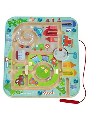 magnetic maze labyrinth city parking beads travel toy path street roads driving