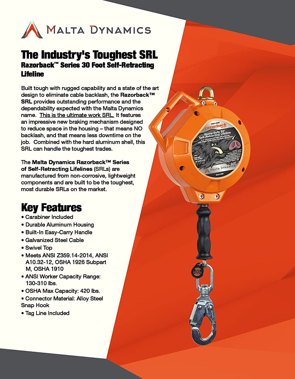 50 SRL Tag Line OSHA//ANSI Compliant