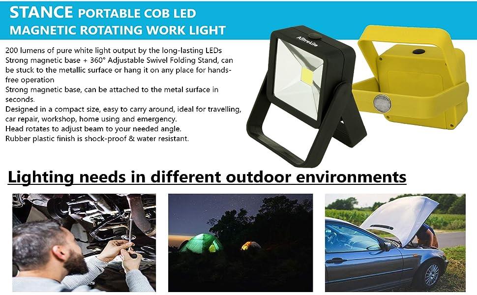 Portable LED Work Light, 200 Lumens Multi-use COB Flashlight, Magnetic Base & Hanging Hook,