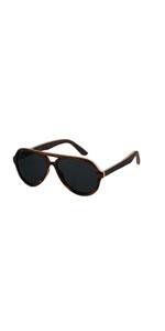 Wood Aviator Sunglasses For Men Women Vintage Wooden Shades Ebony Frame Walnut Oval Brown Black BLue