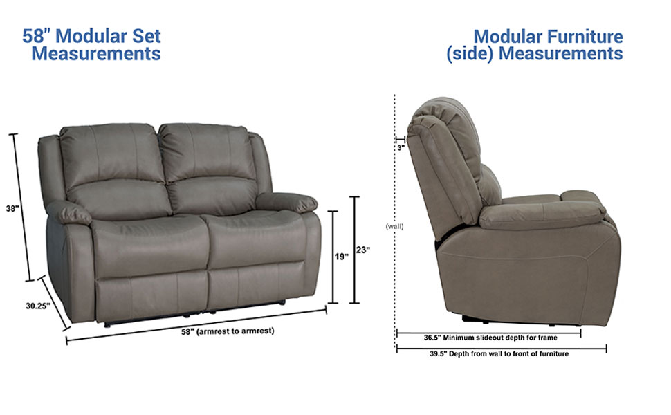 Strange Recpro Charles Collection 58 Double Recliner Rv Sofa Rv Zero Wall Loveseat Wall Hugger Recliner Rv Theater Seating Rv Furniture Rv Sofa Machost Co Dining Chair Design Ideas Machostcouk