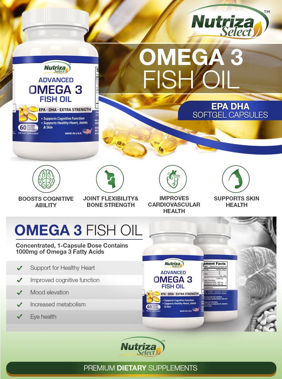 Omega 3 fish oil high potency epa dha for Fish oil supplement dosage