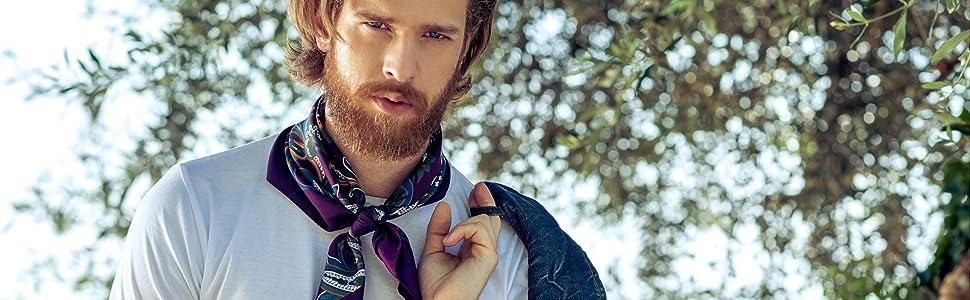 cowboy scarf silk twill fashion Italian neckerchief square neck scarf