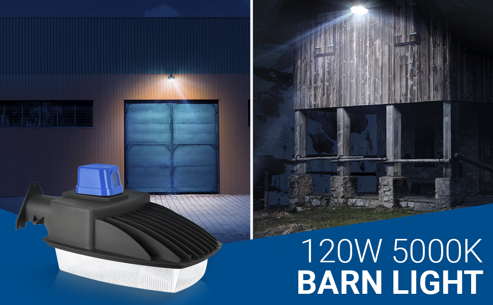 120W 600W Equivalent 5000K Crystal White 12000 Lumens Bright Security Area Light IP65 Inc HyperBL-120W50 Hyperikon Outdoor LED Barn Light Dusk to Dawn with Photocell
