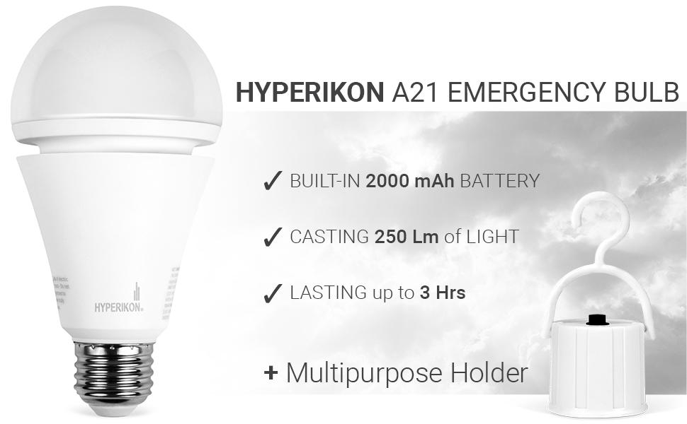Hyperikon Rechargeable Emergency Bulb, A21 7W E26 Base, Battery Powered LED Bulb, 3000K, 3 Hours Backup Mode, 2 Pack