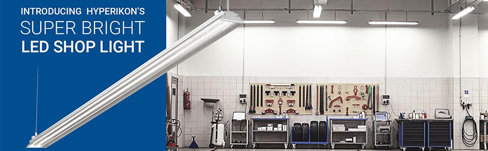 Hyperikon 4 Foot LED Shop Light, 100 Watt (35W), Shop and Garage Lighting,  4000K Daylight, Clear