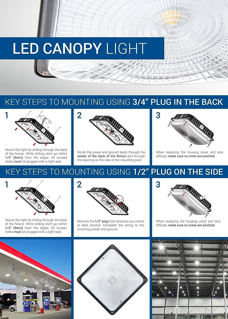 Hyperikon LED Canopy Light 45W (150W-225W Equivalent) 4400 Lumens ...