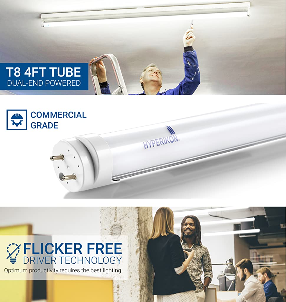 Hyperikon T8 Led Light Tube 4 Ft Dual End Powered Works