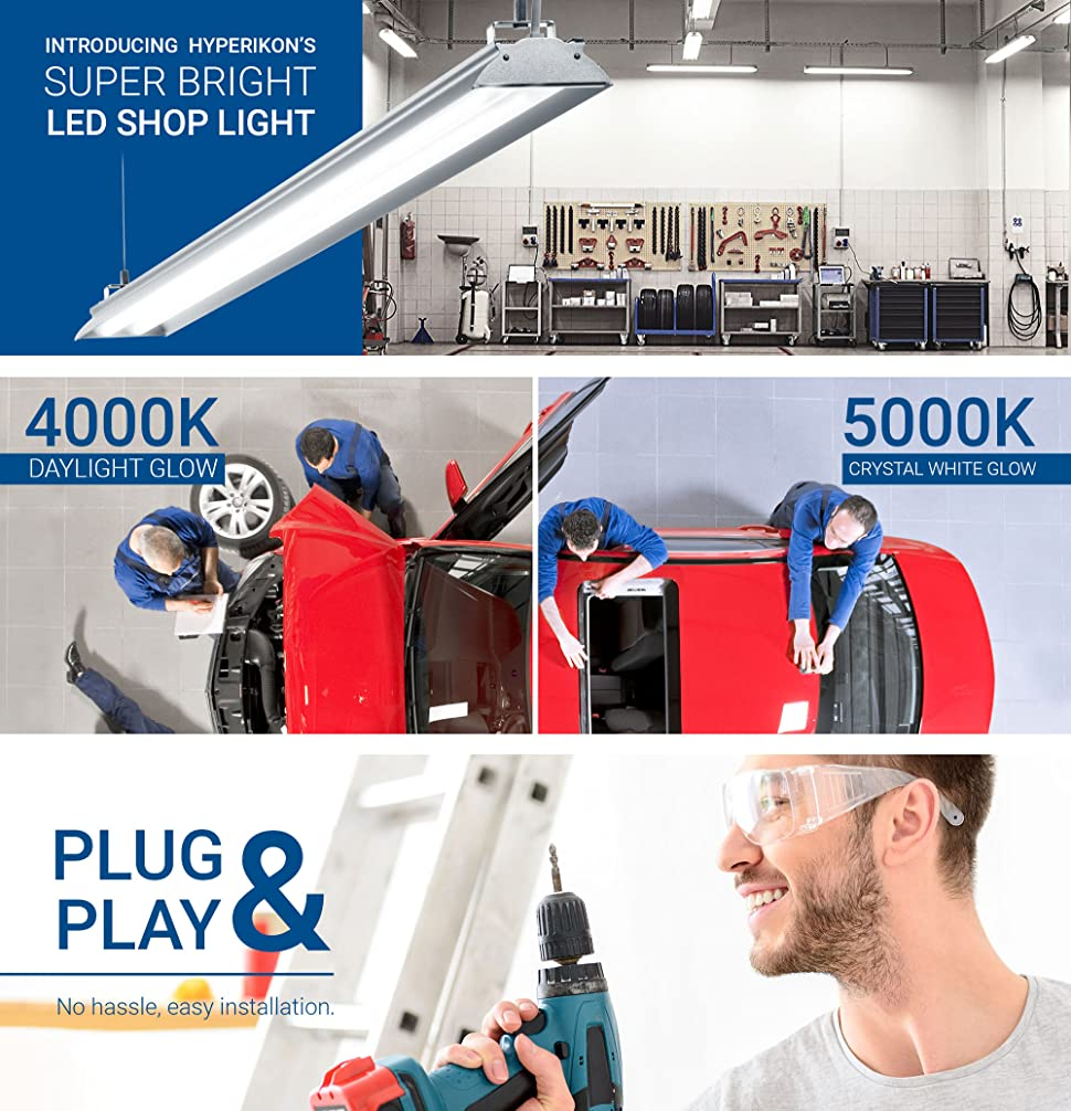 Hyperselect Utility Led Shop Light 4ft Integrated Fixture Hyperikon Wiring Diagram Hyperikons Lights Are A Great Option For Lighting Up Garages Basements Work Areas Rooms Recreation And More