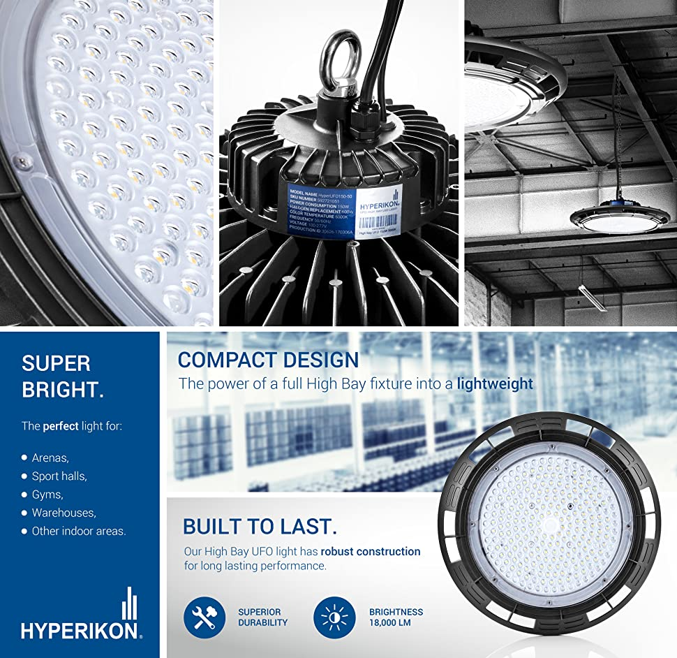 Hyperikon High Bay Led Ufo Light 150w 500w 750w Hid Hps Equivalent Wiring Lamp Post Photocell Product Description