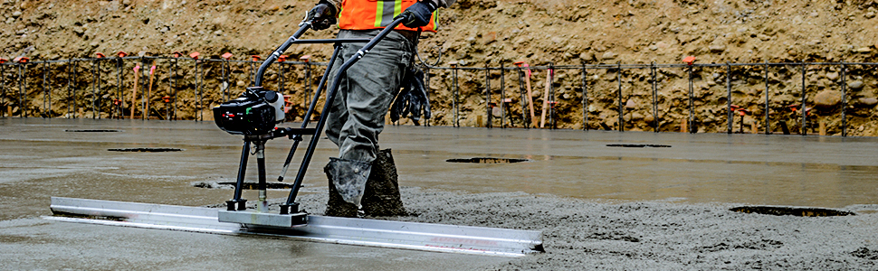 power screed, vibratory screed, concrete screed. magic screed, concrete board, concrete blade, diy