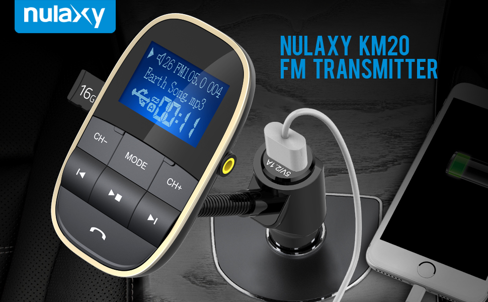 Wireless In-Car Bluetooth Radio Adapter KM20 Nulaxy FM Transmitter