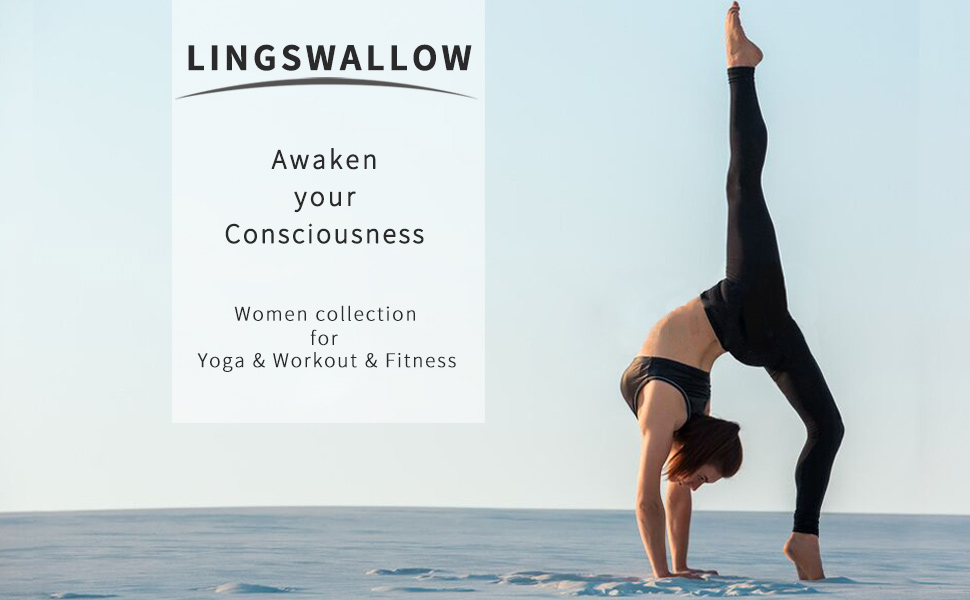 Lingswallow High Waist Yoga Pants - Yoga Pants with Pockets Tummy Control, 4 Ways Stretch Workout Running Yoga Leggings Grey