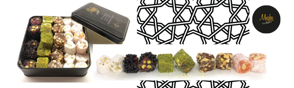 sultan luxury Turkish delight gift box set pistachio mughe gourmet chocolate halva halal candy