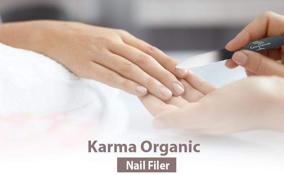 Karma Organic Glass Nail File- Professional Nail Buffer smooth finish  strengthen and beautify nails