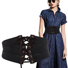 black wide elastic waist belt cinch waist belts