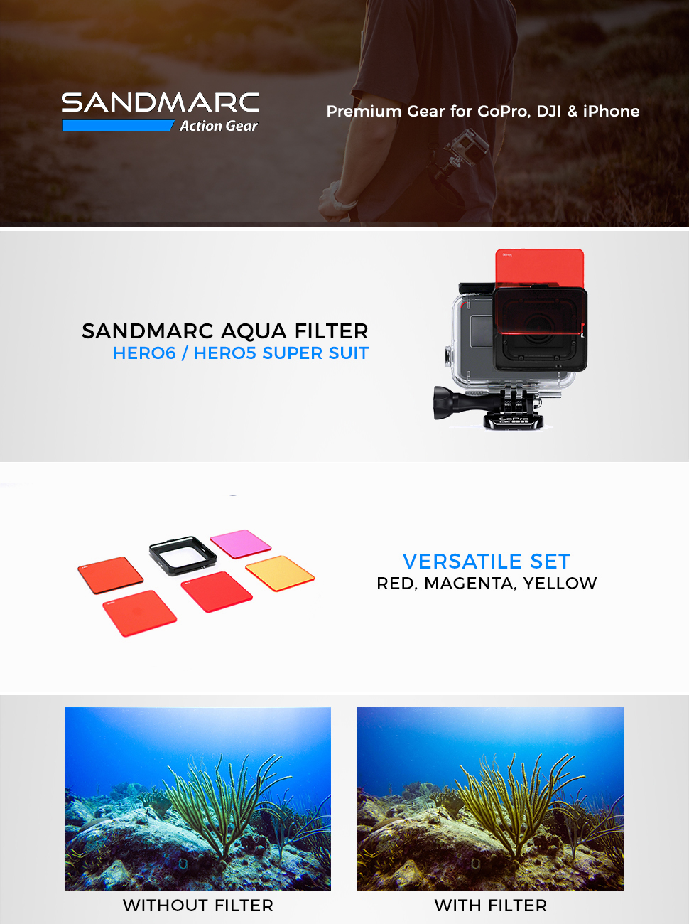 Amazon.com: SANDMARC Aqua Filtro de Buceo para GoPro Hero 5 ...
