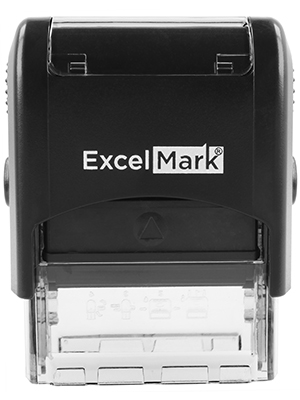 ExcelMark Custom Self-Inking Stamp - Up to 3 Lines - 11 Colors and 18 Fonts