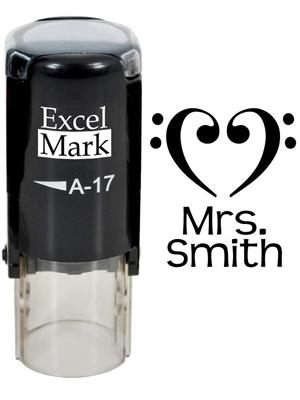 Designer Heart - ExcelMark Custom Name Round Self-Inking Teacher Stamp