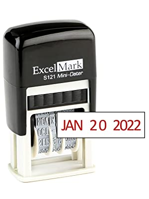 ExcelMark S121 Self-Inking Mini-Dater Stamp
