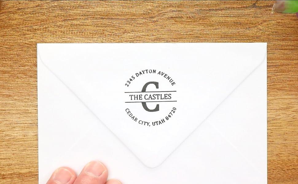 Custom Address Stamp Wood Mounted Stamp Personalized Address Rubber Stamp Rectangular Address Stamp Two Letter Monogram Address Stamp
