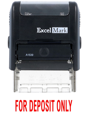 FOR DEPOSIT ONLY - ExcelMark A1539 Self-Inking Stamp - Red Ink