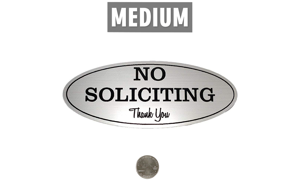 """No Soliciting Sign - Laser Engraved Sign - Medium - 2.8"""" x 7"""", Brushed Silver with Black Letters"""