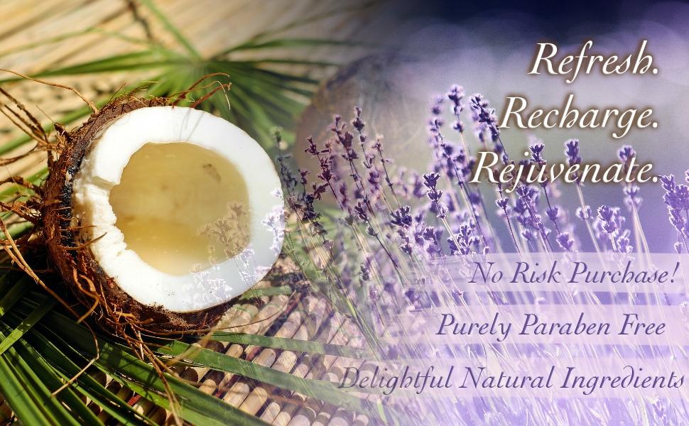 refresh, recharge & rejuvenate with Purelis' natural spa basket. A lavender & coconut paradise!