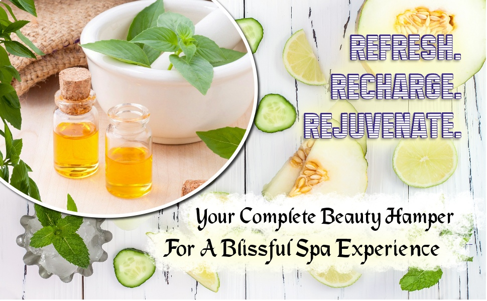 refresh, recharge, rejuvenate, complete beauty hamper, spa experience gift basket