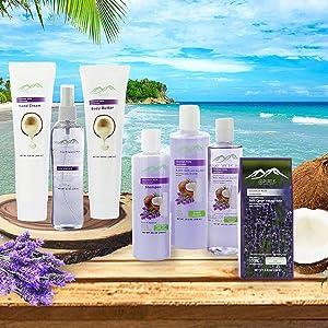 cocovnut & lavender spa gift basket for her. Purely natural ingredients!