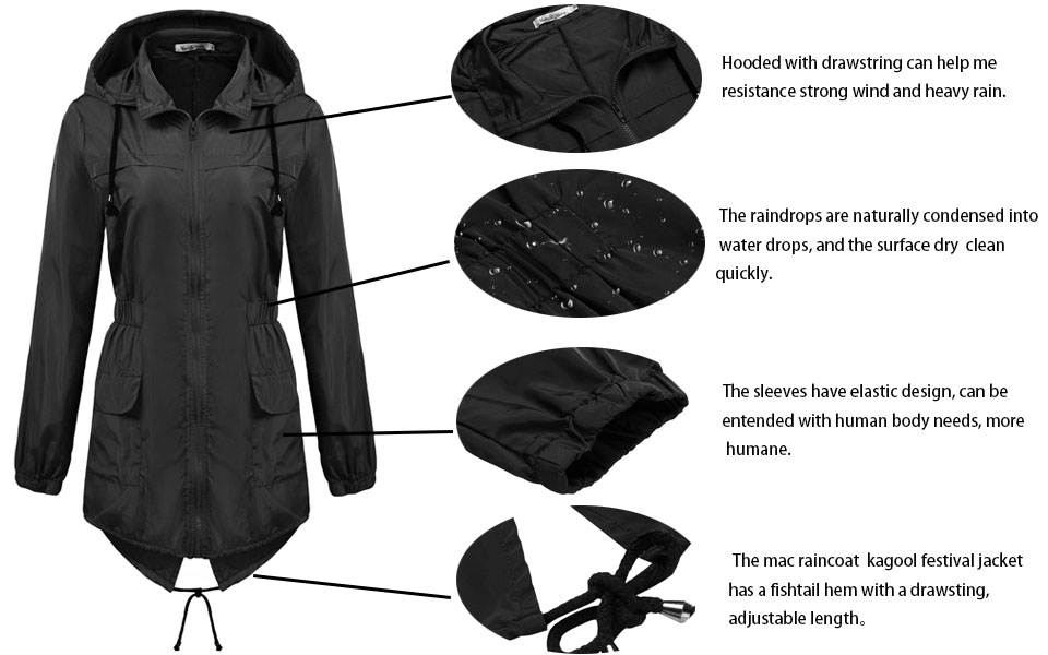 Amazon.com: Macr&Steve Womens Lightweight Hooded Waterproof Active ...