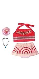 Marosoniy Girls Swimwear One-Piece Swimsuit Digital Print Moana Adventure Bikini with Necklace and Flower