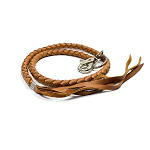 Braided Leather Leash made from geuine real flat leather cord rope string strip