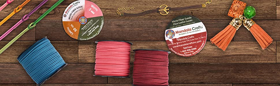 Mandala Crafts Micro Fiber Faux Suede Leather Rope for Jewelry Making Lacing Crafting