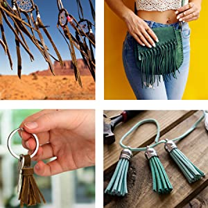 Dream Catcher Bag Key Chain Tassel made from Micro Fiber Faux Suede Leather Cord Rope