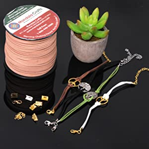 Jewelry Bracelets Made from Micro Fiber Faux Suede Leather Cord Fold Over Cord End Clamps