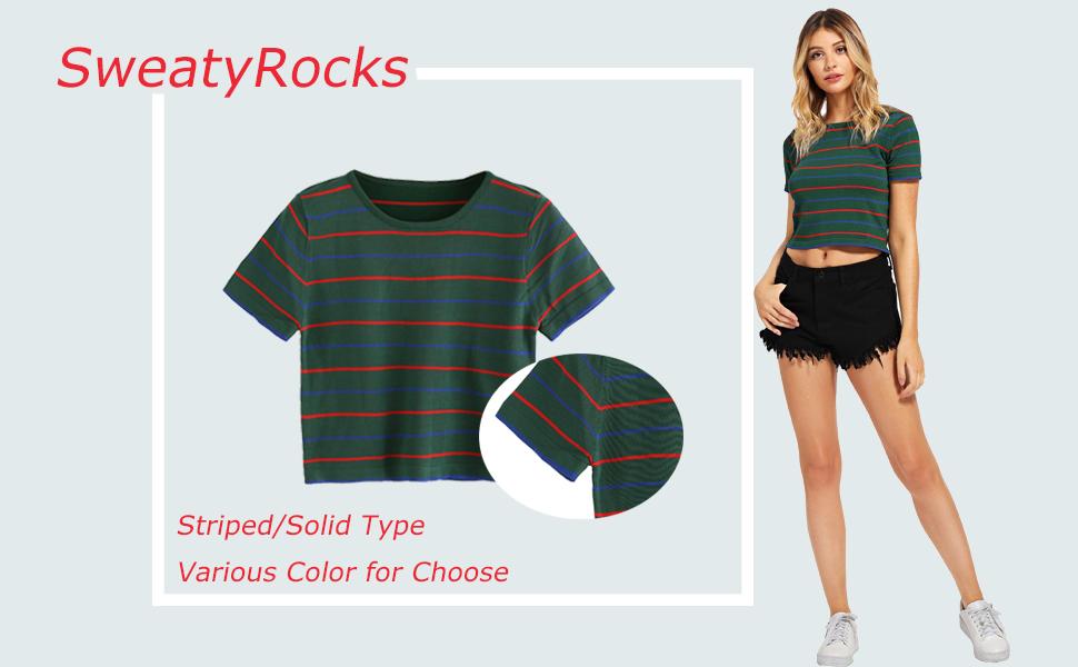 ab8ca95e77c Amazon.com  SweatyRocks Women s Short Sleeve Striped Crop T-Shirt ...