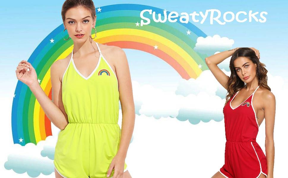 SweatyRocks Women's Halter Sleeveless Short Jumpsuit Rompers Backless Playsuit