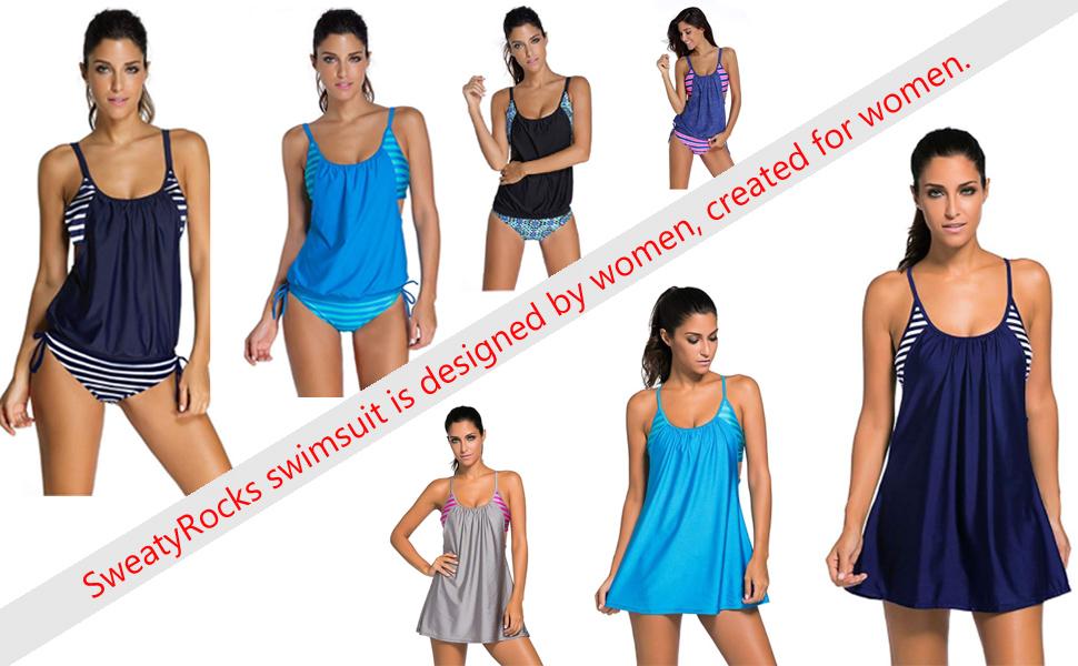 Amazon.com: sweatyrocks Tankini para mujer, conjuntos trajes ...