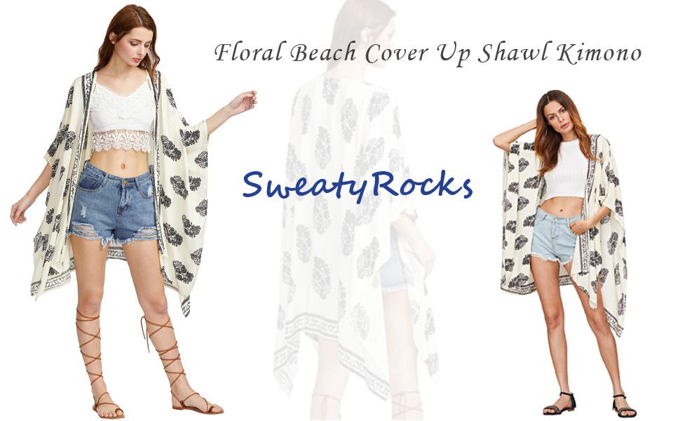 5027bdb27c SweatyRocks Women Kimono Vintage Floral Beach Cover Up at Amazon ...